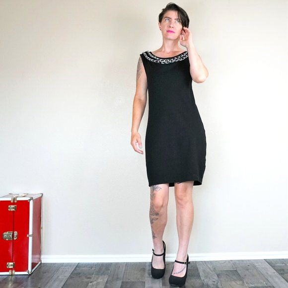 Armani Exchange Little Black Dress with Chain Neck